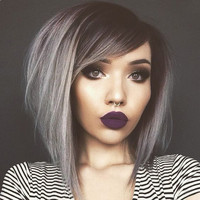 "12"" Grey Wigs Lace Front Wigs 100% Human Hair Wigs The Same As The Hairstyle In The Picture"