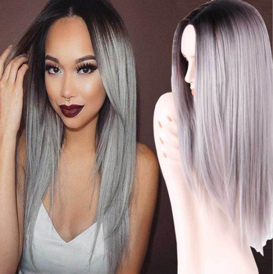 """22"""" Grey Wigs For African American Women The Same As The Hairstyle In The Picture"""