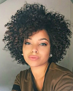 """12"""" Kinky Curly Wigs For African American Women The Same As The Hairstyle In The Picture"""