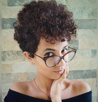 "8"" Short Curly Wigs Lace Front Wigs 100% Human Hair Wigs The Same As The Hairstyle In The Picture"