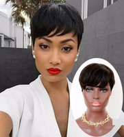 """6"""" Short Wigs Lace Front Wigs 100% Human Hair Wigs The Same As The Hairstyle In The Picture"""