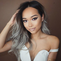"18"" Wavy Grey Wigs Lace Front Wigs 100% Human Hair Wigs The Same As The Hairstyle In The Picture"