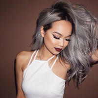 "16"" Wavy Grey Wigs Lace Front Wigs 100% Human Hair Wigs The Same As The Hairstyle In The Picture"