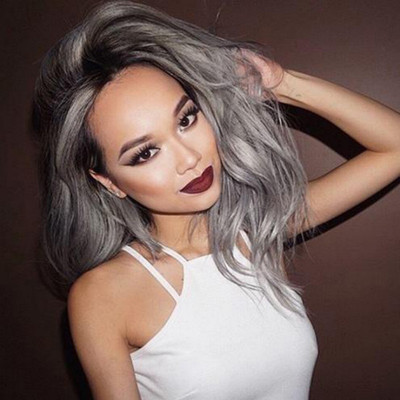 """20"""" Grey Wigs For African American Women The Same As The Hairstyle In The Picture"""