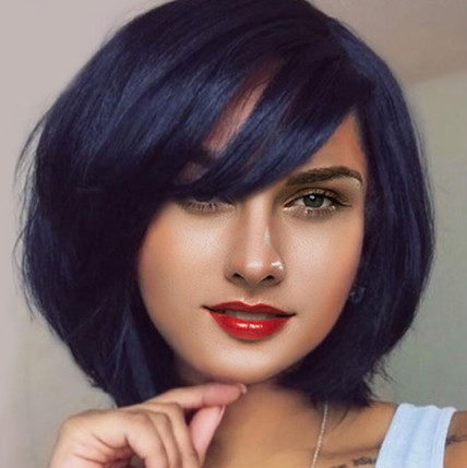 "12"" Bob Wigs With Bangs Lace Front Wigs 100% Human Hair Wigs The Same As The Hairstyle In Picture"
