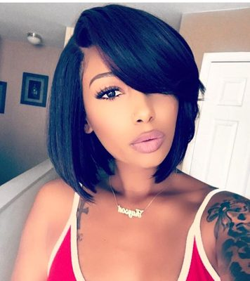 """12"""" Bob With Bangs Wigs For African American Women The Same As The Hairstyle In Picture"""