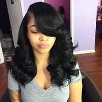 "18"" Side Bangs Wavy Wigs For African American Women The Same As The Hairstyle In The Picture"