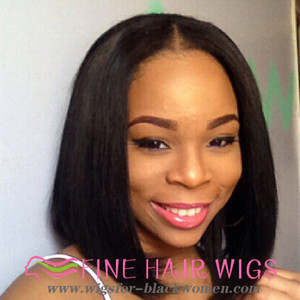 "12"" Straight Bob Wigs Lace Front Wigs 100% Human Hair Wigs The Same As The Hairstyle In The Picture"