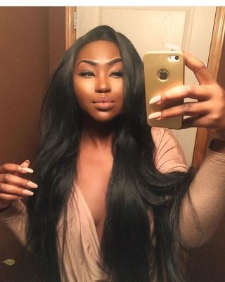 """24"""" Straight Long Wigs For African American Women The Same As The Hairstyle In The Picture"""
