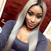 "24"" Grey Stright Lace Front Wigs 100% Human Hair Wigs The Same As The Hairstyle In The Picture"