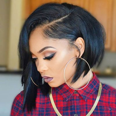 """12"""" Side Bangs Bob Wigs For African American Women The Same As The Hairstyle In The Picture"""