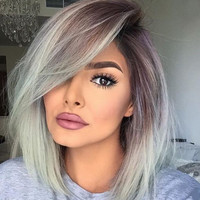 "12"" Grey Wigs With Bangs Lace Front Wigs 100% Human Hair Wigs The Same As The Hairstyle In Picture"