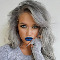 "14"" Wavy Grey Wigs Lace Front Wigs 100% Human Hair Wigs The Same As The Hairstyle In The Picture"