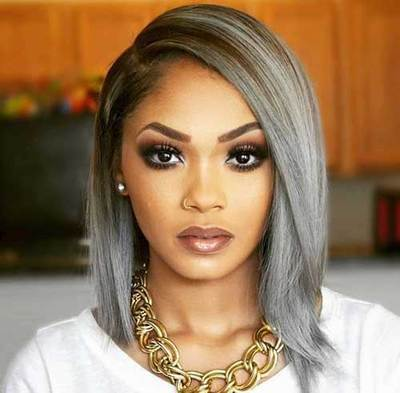 """12"""" Grey Wigs For African American Women The Same As The Hairstyle In The Picture"""