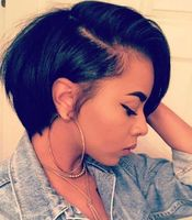 "10"" Short Bob Wigs For African American Women The Same As The Hairstyle In The Picture"