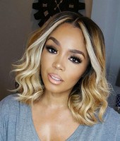 "14"" Wavy Wigs Lace Front Wigs 100% Human Hair Wigs The Same As The Hairstyle In The Picture"