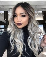 """24"""" Wavy Grey Wigs For African American Women The Same As The Hairstyle In The Picture"""