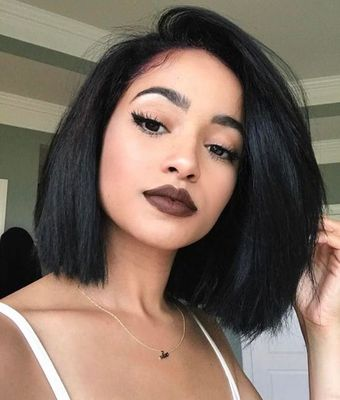 "12"" Side Part Bob Wigs For African American Women The Same As The Hairstyle In The Picture"