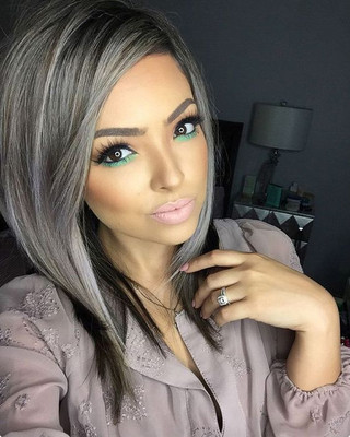 """14"""" Grey Wigs For African American Women The Same As The Hairstyle In The Picture"""