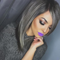 "14"" Grey Wigs Lace Front Wigs 100% Human Hair Wigs The Same As The Hairstyle In The Picture"